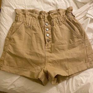 Tan paperbag topshop shorts